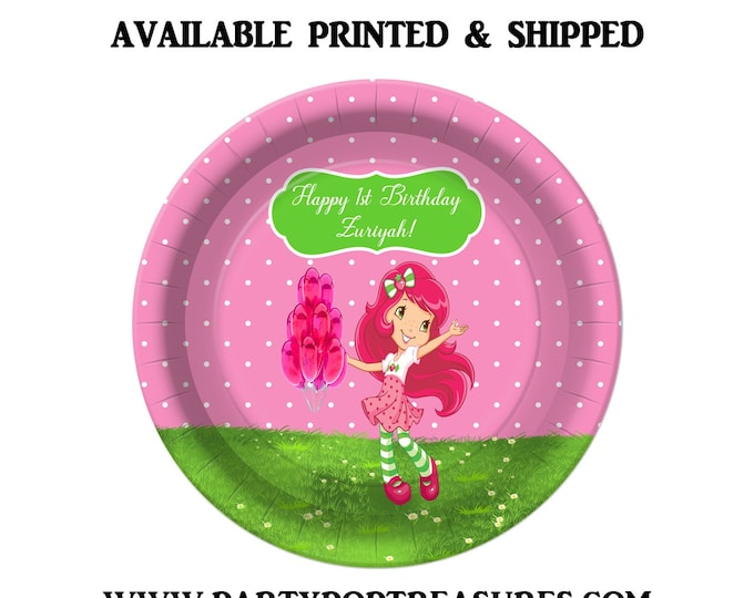 Strawberry Shortcake Dessert Plate - Paper Plate - Custom Paper Plate - Strawberry Shortcake Party - Digital - Printed - Party Printable
