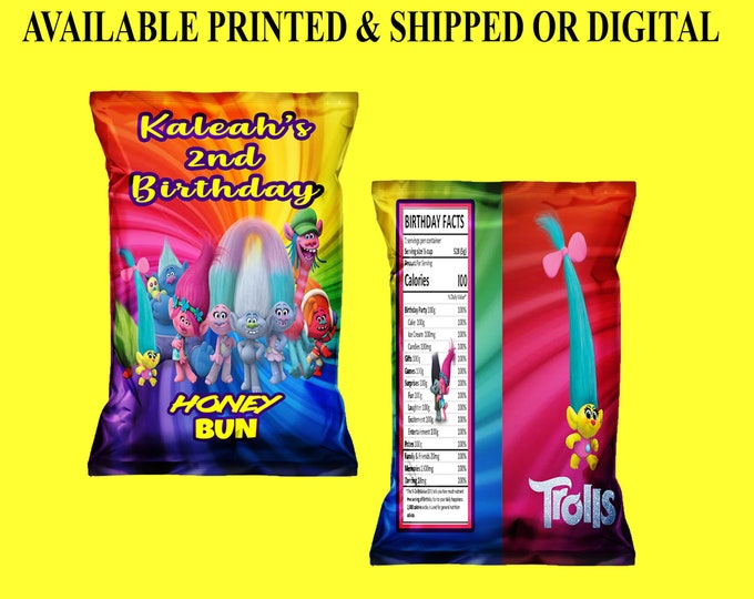 Trolls Honey Bun Wrappers - Trolls Birthday Party - Honey Bun Wrappers - Trolls Party Favor - Custom Honey Bun Wrapper - Digital - Printed