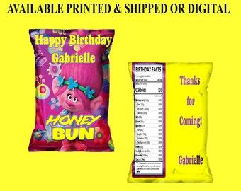 Trolls Honey Bun Wrappers - Trolls Birthday Party - Honey Bun Wrappers - Trolls Party Favor - Custom Honey Bun Wrapper - Digital - Printed