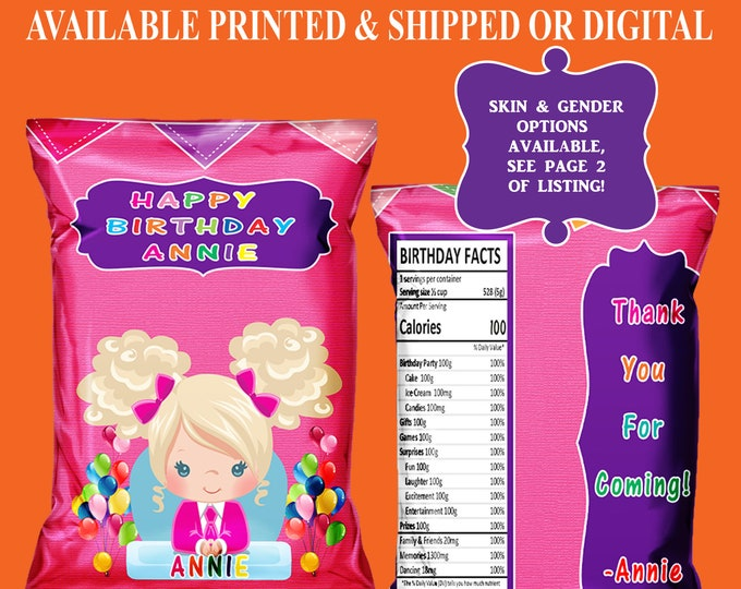 Boss Baby Chip Bag - Custom Chip Bag - Party Favor - Boss Baby Theme - Chip Bag - Digital - Party Printable - Printed