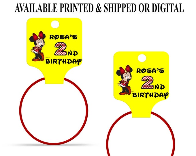 Minnie Mouse Bracelet Hang Tags - Yellow Red - Bracelet Hang Tags - Custom Fold Over Tags - Hang Tags - Custom Tags - Digital - Printed