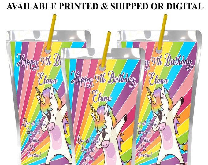 Unicorn Juice Pouch Labels - Dabbing Unicorn - Juice Pouch Labels - Juice Pouch Stickers - Labels - Party - Stickers - Digital - Printed