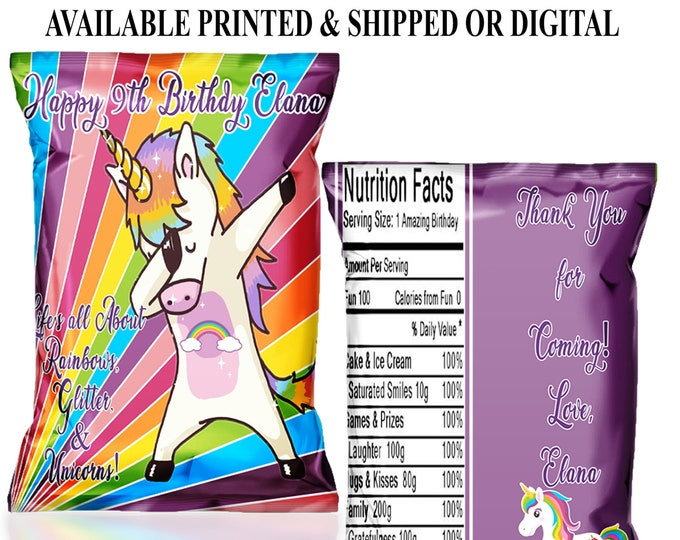 Dabbing Unicorn Chip Bag - Custom Chip Bags - Unicorn Birthday - Unicorn Party - Digital - Party Printable - Printed - Chip Bags