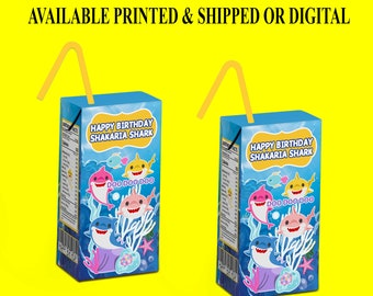 Shark Juice Box Labels - Shark Theme Label - Party Favor - Shark Party - Juice Box Label - Juice Label - Digital File - Party Printables