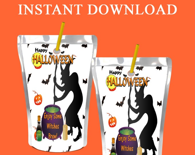 Halloween Witches Brew Juice Pouch Label - INSTANT DIGITAL DOWNLOAD - Halloween Party - Witches Brew - Digital File - Party Printables