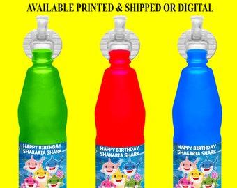 Shark Squeeze Juice Bottle Label - Shark Birthday Party - Party Favor - Baby Shark - Baby Shark Party Favor - Digital File - Party Printable