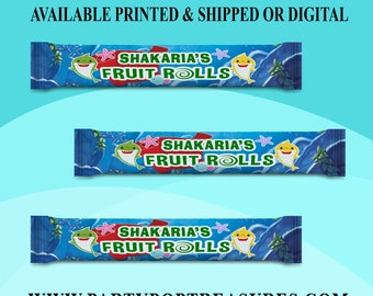 Shark Fruit Roll Up Wrapper - Customized Wrappers - Shark Candy Wrappers -Baby Shark Party Favor - Digital File - Printed - Party Printables
