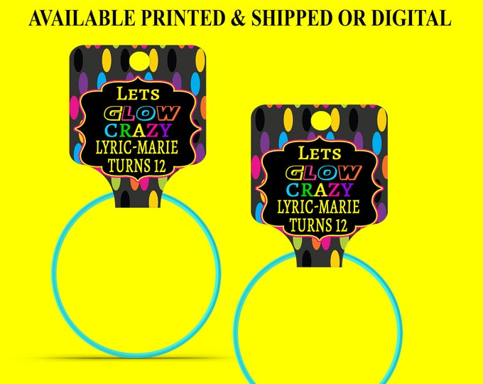 Glow Party Bracelet Hang Tags - Bracelet Hang Tags - Custom Fold Over Tags - Hang Tags - Personalized Tags - Digital - Printed