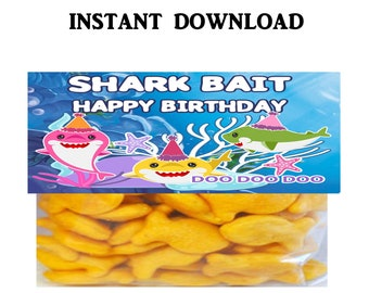 Shark Treat Bag Topper - INSTANT DIGITAL DOWNLOAD - File Cannot Be Customized - File Not Editable - Shark Party Favor - Shark - Digital