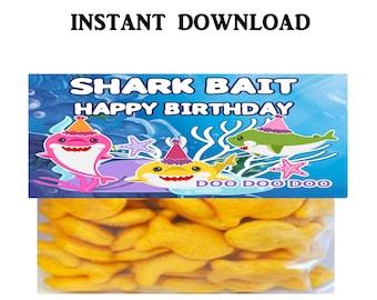 Shark Treat Bag Topper - INSTANT DIGITAL DOWNLOAD - File Cannot Be Customized - File Not Editable - Baby Shark Party Favor - Shark - Digital