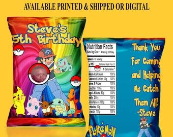 Pokemon Favor Bag - Pokemon Chip Bag - Pokemon Birthday - Pokemon Party - Digital - Printable -  Printed - Chip Bag - Pokemon