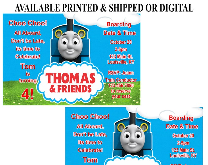 Thomas the Train Invitation - Thomas the Train Birthday Party - Thomas the Train - Printed - Digital - Party Printable