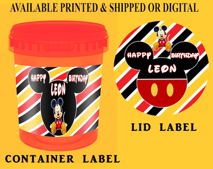 Mickey Mouse Cotton Candy Tub Labels - Party Favors - Party Favor Labels - Mickey Mouse Party Favors - Digital - Party Printables - Printed