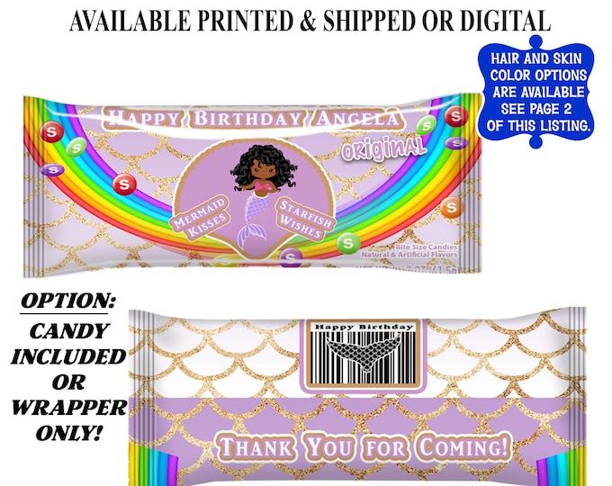 Mermaid Candy Wrapper - Rainbow Candies - Mermaid Birthday Party - Mermaid Party Favors - Digital - Party Printables - Printed