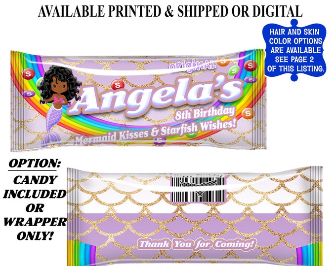 Mermaid Candy Wrapper - Rainbow Candies - Party Favor - Candy Wrapper - Mermaid Party - Mermaid Theme - Digital File - Party Printables