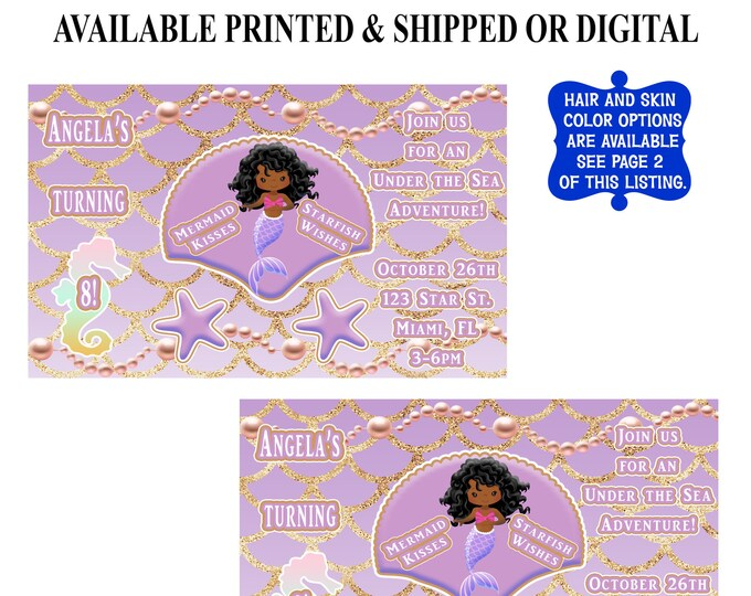 Mermaid Invitation - Mermaid Birthday Party Invitation - Under the Sea - Mermaid Party - Mermaid Birthday - Digital - Printed - Printable
