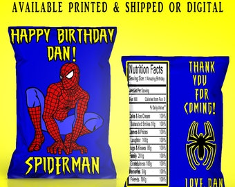 Spiderman Chip Bags - Chip Bags - Spiderman Favor Bags - Favor Bags - Spiderman - Spiderman Party - Digital - Printable - Printed
