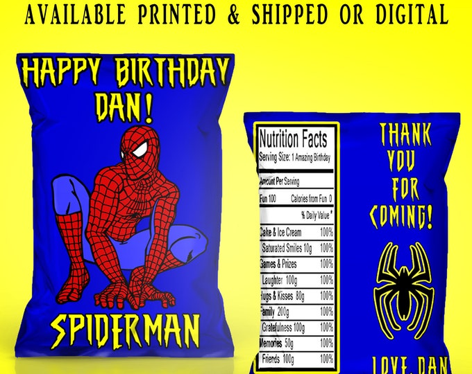 Spiderman Chip Bags - Chip Bags - Spiderman Favor Bags - Favor Bags - Spiderman - Spiderman Party - Digital - Printable - Printed
