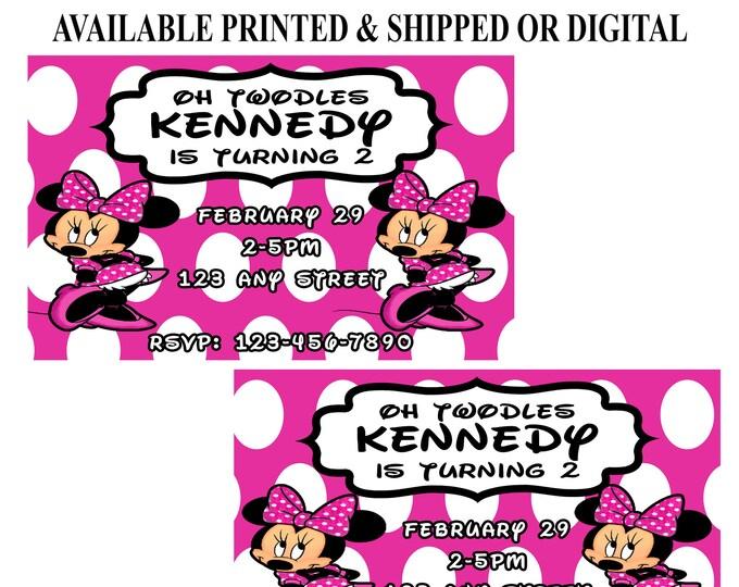Minnie Mouse Invitation - Minnie Mouse - Minnie Mouse Birthday Party - Birthday Party Invitation - Digital - Printable - Party Printables