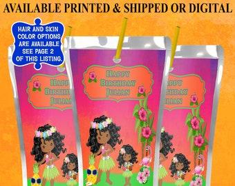 Hawaiian Capri Sun Label - Hawaiian Party - Hawaiian Party Favor - Juice Pouch Label - Tropical Theme - Digital - Printed - Party Printable