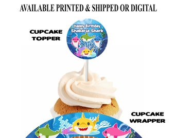 Shark Cupcake Topper and Wrapper - Shark Party Theme - Cupcake Topper and Wrapper - Baby Shark Party Favor - Digital File - Party Printables