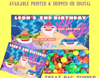 Shark Treat Bag Topper - Shark Party Favors - Printable Bag Toppers - Treat Bag Toppers - Digital - Party Printable - Baby Shark Party Favor