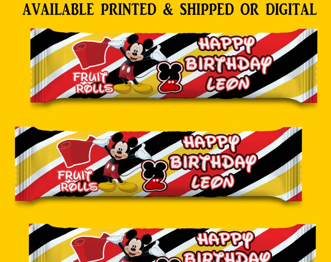 Mickey Mouse Fruit Roll Up Wrapper - Customized Party Favors - Customized Candy Wrappers - Candy Favors - Digital File - Party Printables