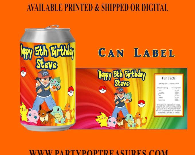 Pokemon Soda Can Label - Pokemon - Pokemon Party - Custom Party Favor - Party Favor - Pokemon Birthday - Digital File - Party Printable