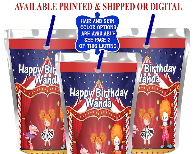 Circus Juice Pouch Label - Custom Juice Pouch Label - Circus Party - Circus Birthday - Circus Juice Pouch - Digital - Printable