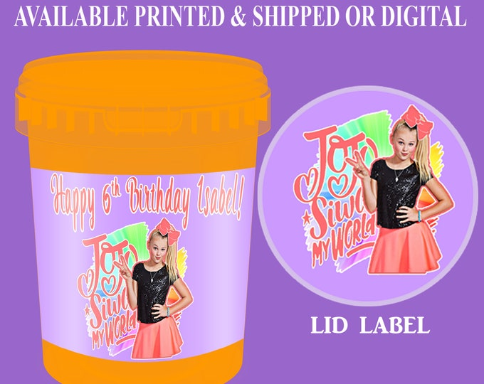 JoJo Cotton Candy Tub Labels - Party Favor Labels - JoJo Party Favors - JoJo Siwa Party Favors - Digital - Party Printables - Printed