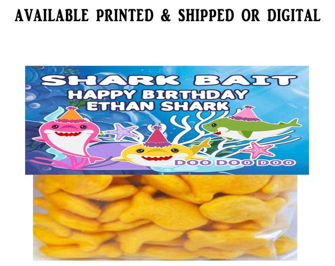 Shark Treat Bag Topper - SHARK BAIT - Shark Party - Birthday Party - Baby Shark Party Favor - Candy Favor - Digital - Printed - Printable