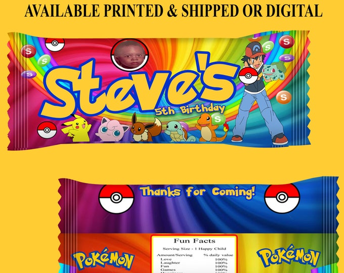 Pokemon Candy Favors - Candy Wrappers - Pokemon Party Favors - Birthday Party - Candy Bags -  Printed - Printable - Digital