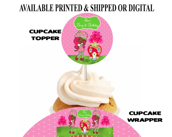 Strawberry Shortcake African American Cupcake Topper and Wrapper - Strawberry Shortcake - Cupcake Topper and Wrapper - Party Printables