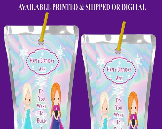 Frozen Capri Sun Label - Frozen Juice Pouch Label - Frozen Party Printables -Frozen Party Favors - Digital File - Party Printables