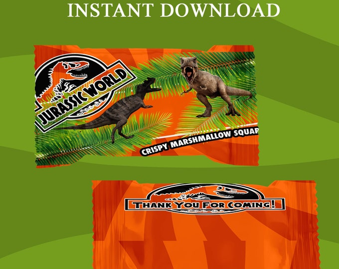 Jurassic World Rice Krispy Treat Wrapper - INSTANT DIGITAL DOWNLOAD - File Cannot Be Customized - File Not Editable - Party Printables