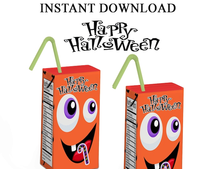 Halloween Juice Box Labels - Halloween Favors - Juice Box Labels - Halloween Party Labels - Digital File - Party Printables - Printed