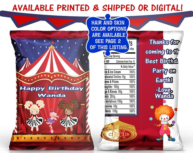 Circus Chip Bag - Circus Party - Circus Birthday - Custom Party Favor - Custom Chip Bags - Digital - Party Printables
