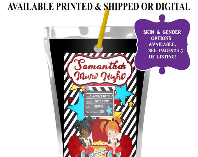Movie Night Capri Sun Label - Party Favor - Movie Night Juice Pouch Label - Digital File - Slumber Party - Party Printable - Printed