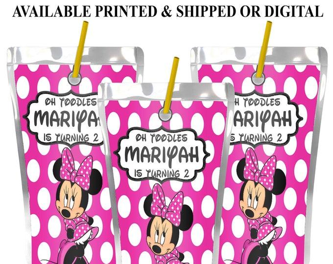 Minnie Mouse Juice Pouch Labels - Minnie Mouse - Juice Pouch Labels - Capri Sun Labels - Juice Pouch Stickers - Digital - Party Printable