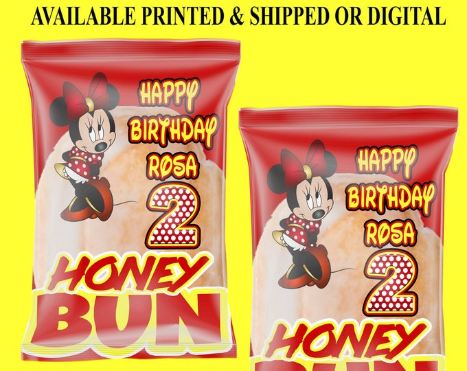 Minnie Mouse Honey Bun Wrappers - Minnie Mouse Birthday Party - Minnie Mouse Printables - Minnie Mouse Party Favor - Digital - Printed