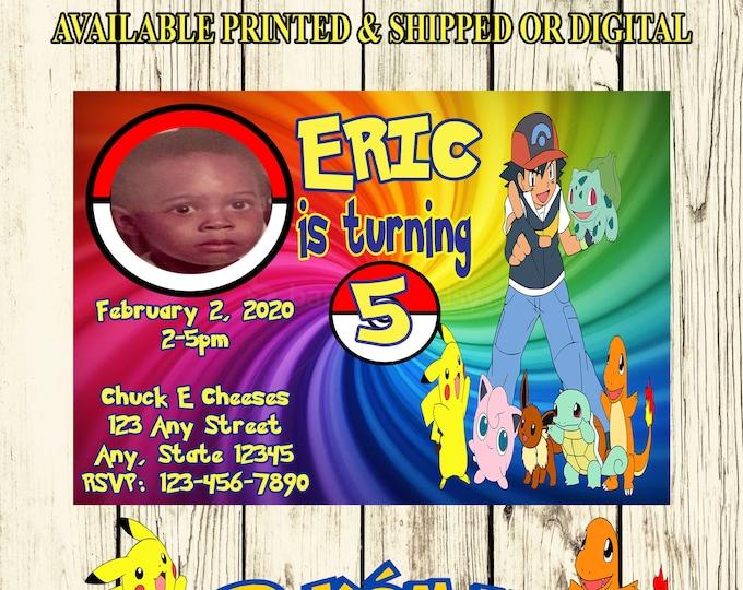 Pokemon Invitation - Pokemon Birthday Party - Air Jordan - Pokemon Party Invitation - Digital File - Printable - Party Printables