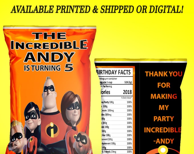 The Incredibles Chip Bag - Incredibles Party - Custom Party Favor - Custom Chip Bag - Digital - Party Printables - Printed
