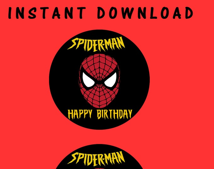 "Spiderman 2"" Round Labels - INSTANT DIGITAL DOWNLOAD - File Cannot Be Customized - File Not Editable - Spiderman Party - Digital"