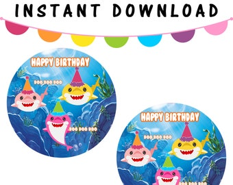 """Shark 2"""" Round Labels - INSTANT DIGITAL DOWNLOAD - File Cannot Be Customized - File Not Editable - Baby Shark Party Favor - Digital"""