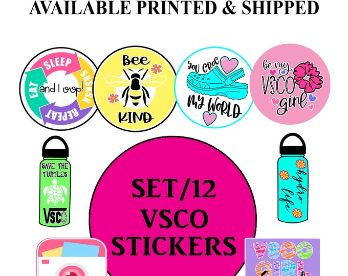 VSCO Teen Girl Vinyl Stickers Pack Waterproof for Hydro Flask - VSCO Save the Turtles - Schrunchie - Sksksk and i oop - Party Printables