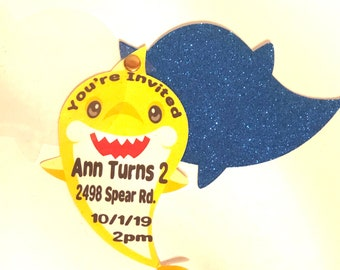 Shark 3 Layer Invitation - Shark Party for Kids - Shark Birthday Party - Shark Party Favors - Digital - Party Printable