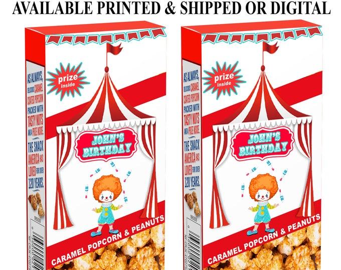 Circus Cracker Jack Labels - Cracker Jack Labels or Treats - Circus Party Favor - Circus Labels - Cracker Jacks - Digital - Party Printables