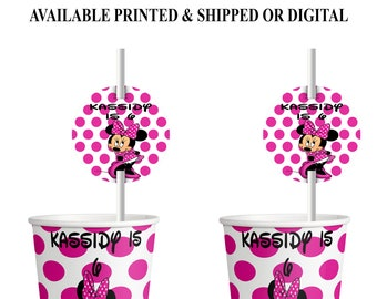 Minnie Mouse Cup Label & Straw Tag - White Pink Dots - Minnie Mouse - Straw Tag - Cup Label - Minnie Mouse Party - Digital - Printed