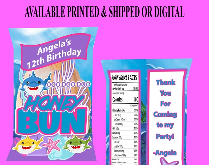 Shark Honey Bun Wrappers - Shark Birthday Party - Honey Bun Wrappers - Baby Shark Party Favor - Custom Favors - Digital - Party Printables
