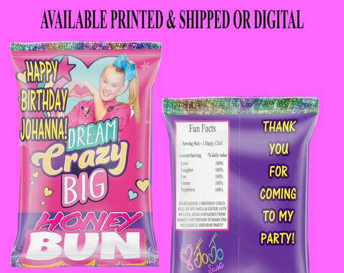 JoJo Honey Bun Wrappers - JoJo Birthday Party - Honey Bun Wrappers - JoJo Party Favor - Custom Honey Bun Wrapper - Digital - Printed